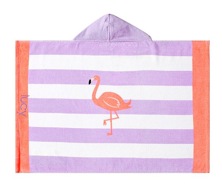 Flamingo Stripe Baby Beach Hooded Towel