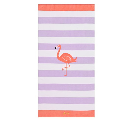 Flamingo Stripe Kids Beach Towel