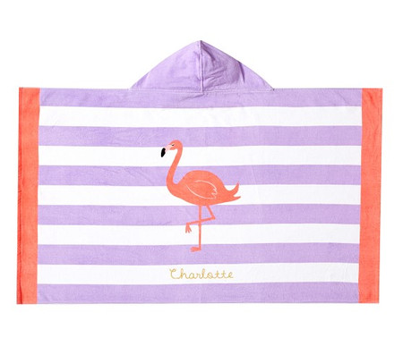 Flamingo Stripe Kids Beach Hooded Towel