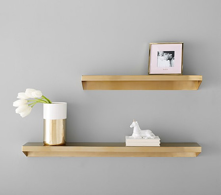 Floating Brass Metal Shelving