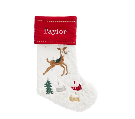 Flying Reindeer Santa Heritage Stocking