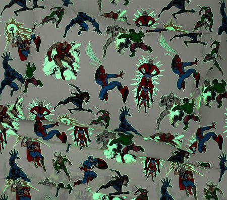 Glow-in-the-Dark Marvel Heroes Sheet Set