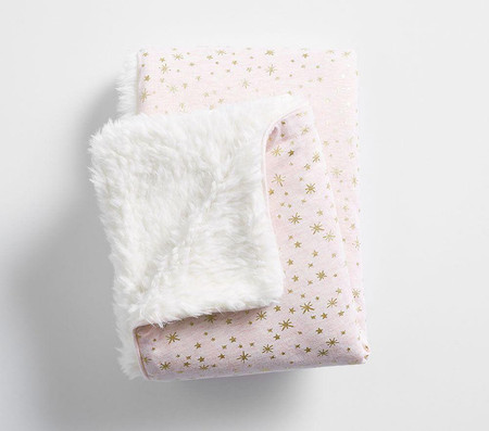 Gold Star Sherpa Baby Blanket