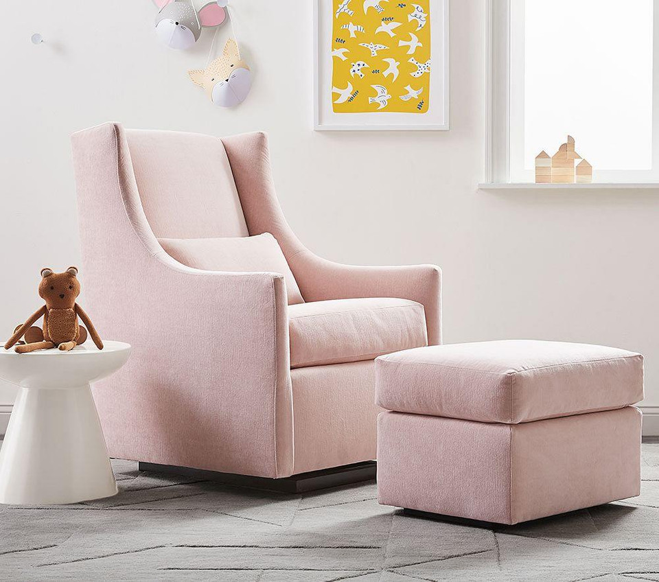 west elm x pbk Graham Glider & Stationary Ottoman - Vintage Velvet, Blush