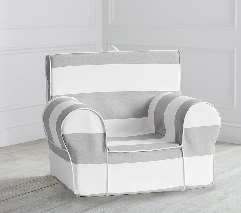 Grey Classic Rugby Stripe Anywhere Chair