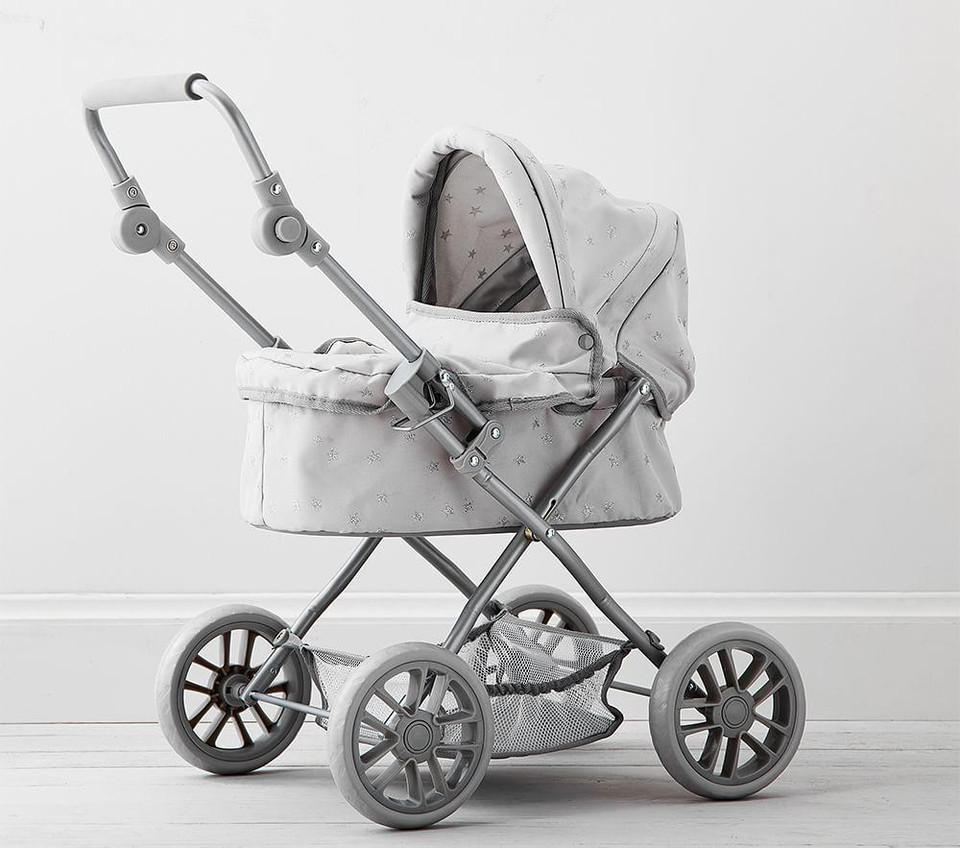 Gray Stars Mini Pram Doll Stroller: Grey Stars Doll Pram Stroller