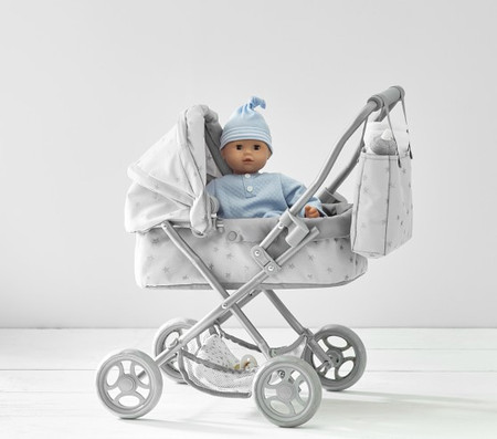 Grey Stars Mini Pram Doll Stroller