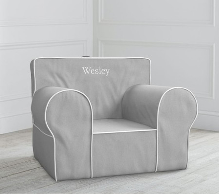 Oversized Grey with White Piping Anywhere Chair®