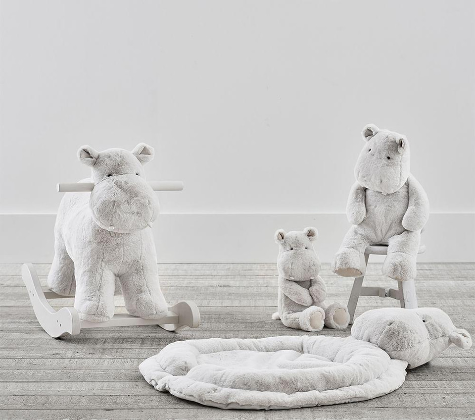 Grey Hippo Nursery Plush