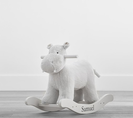 Grey Hippo Plush Nursery Rocker