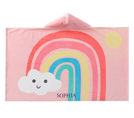 Happy Rainbows Kids Beach Hooded Towel