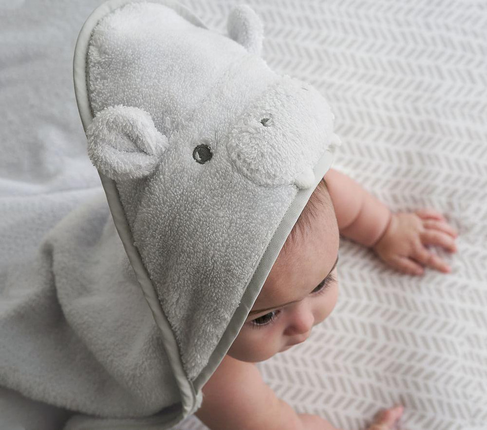 Hippo Hooded Nursery Wrap & Wash Cloth