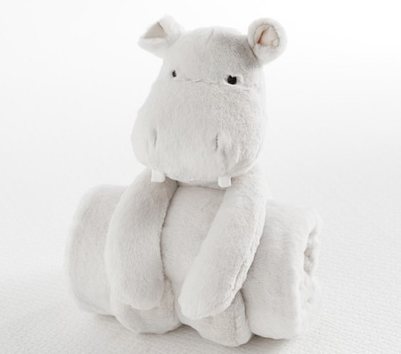 Plush Hippo Stuffed Animal and Blanket Set