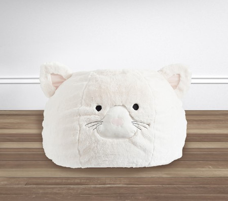 Ivory Kitty Faux Fur Anywhere Beanbag™