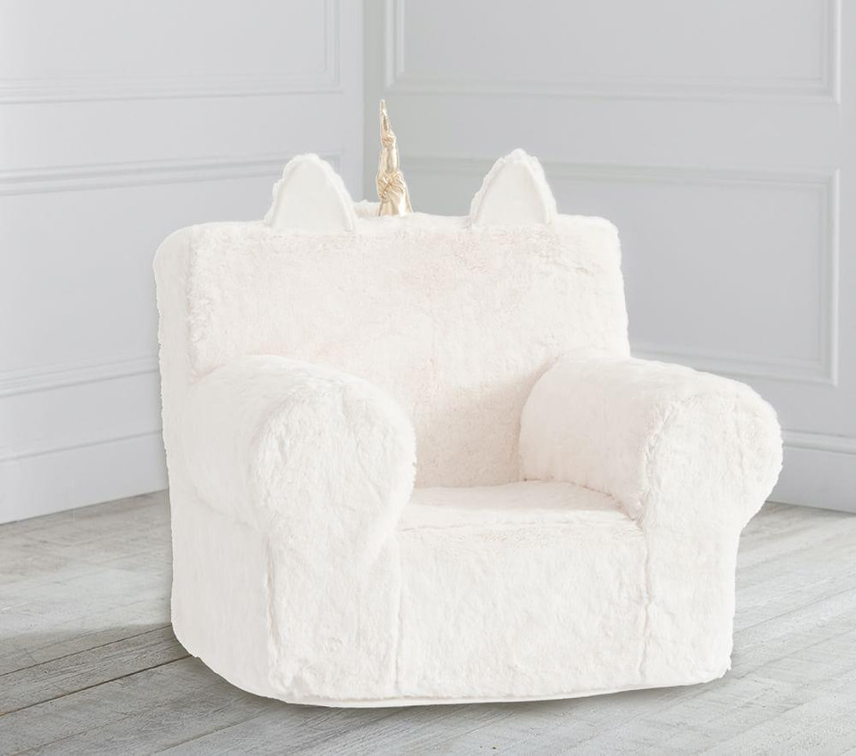 Ivory Unicorn Faux Fur Anywhere Chair®