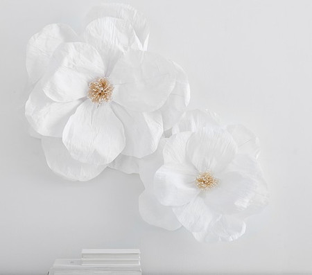Jumbo Crepe White Paper Flowers Set of 2