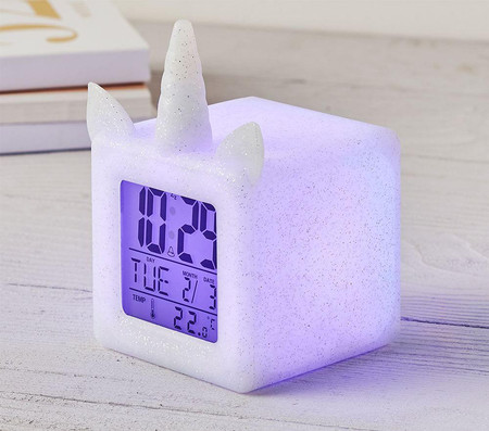 Light Up Silver Unicorn Digital Clock