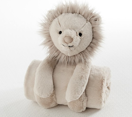 Plush Lion Stuffed Animal and Blanket Set