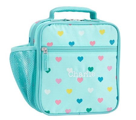 Mackenzie Aqua Multi Heart Glow-in-the-Dark Lunch Boxes