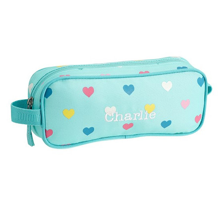 Mackenzie Aqua Multi Heart Glow-in-the-Dark Pencil Case