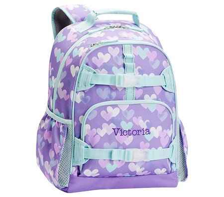 Mackenzie Lavender Aqua Cascading Hearts Backpacks