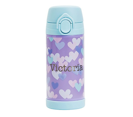 Mackenzie Lavender Aqua Cascading Hearts Water Bottles & Food Storage
