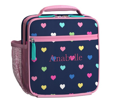 Mackenzie Navy Multicolour Heart Lunch Bag