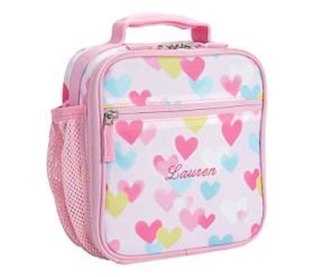Mackenzie Pink Cascading Hearts Lunch Boxes