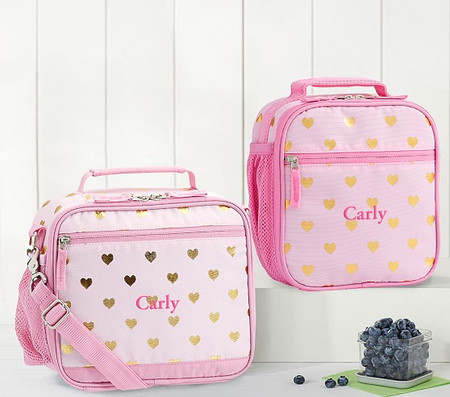 Mackenzie Pink/Gold Foil Hearts Lunch Bag