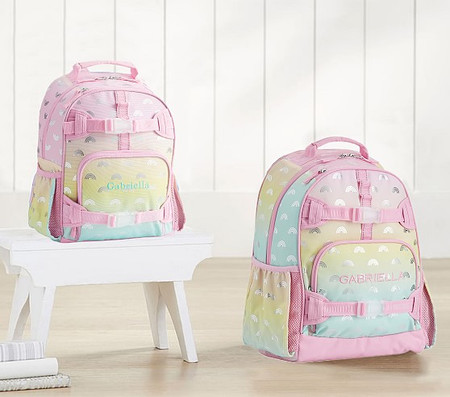 Mackenzie Pink Ombre Silver Foil Rainbows Backpacks