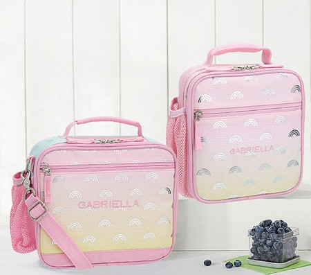 Mackenzie Pink Ombre Silver Foil Rainbows Lunch Boxes