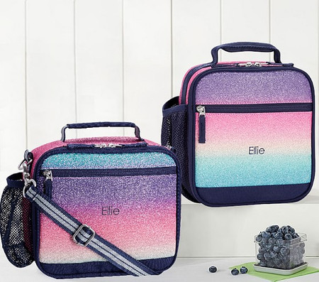 Mackenzie Rainbow Ombre Sparkle Glitter Lunch Boxes