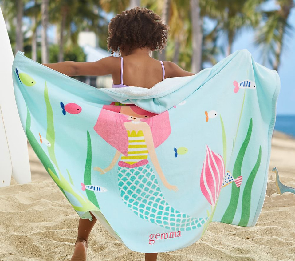Mermaid Kids Beach Hooded Towel