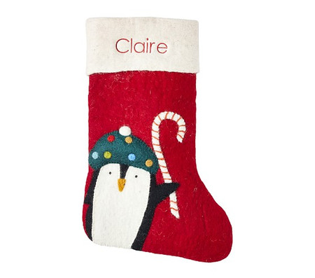 west elm x pbk Modern Penguin Felt Stocking
