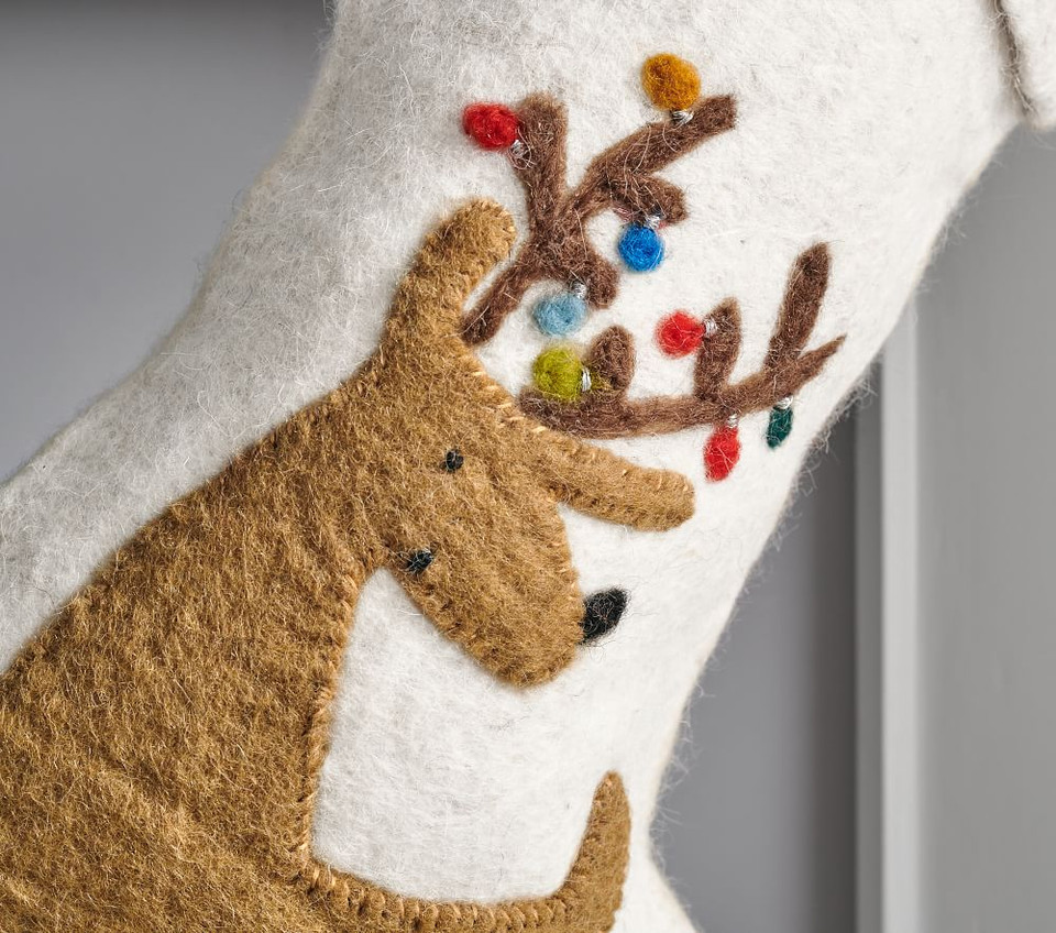 west elm x pbk Modern Reindeer Felt Stocking