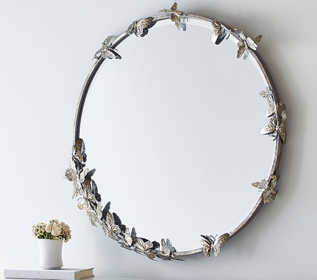 Monique Lhuillier Round Butterfly Mirror