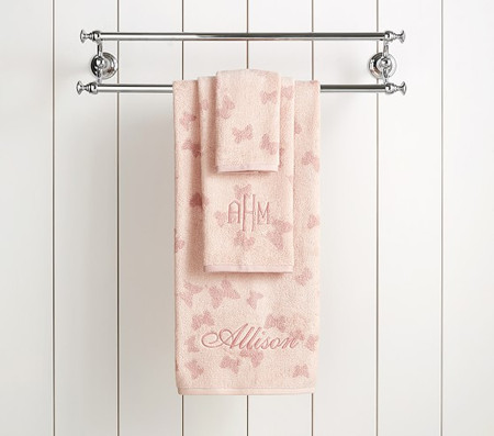 Monique Lhuillier Tencel Butterfly Jacquard Towel Collection