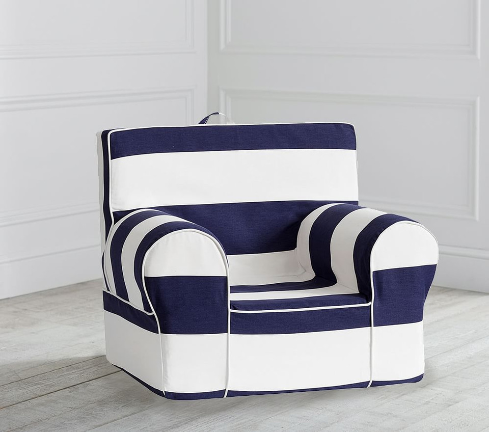 Navy Classic Rugby Stripe Anywhere Chair