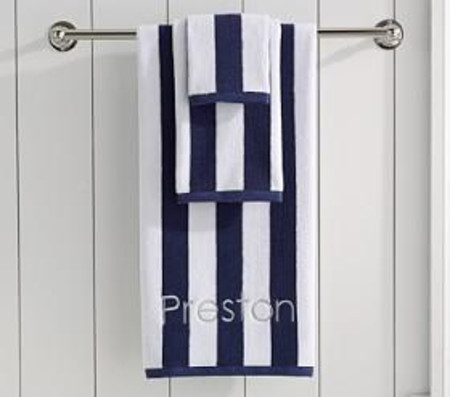 Navy Rugby Stripe Bath Collection