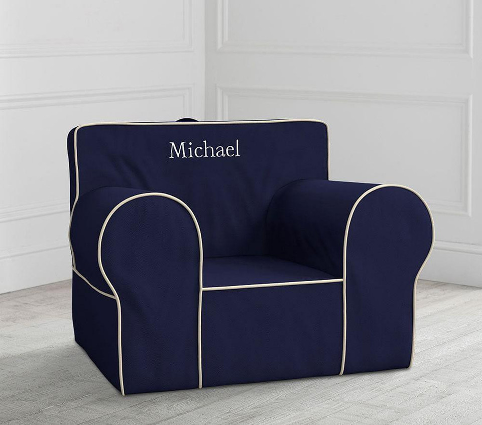 Oversized Navy with White Piping Anywhere Chair®