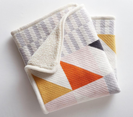 west elm x pbk Knit Cotton Divided Squares Baby Blanket