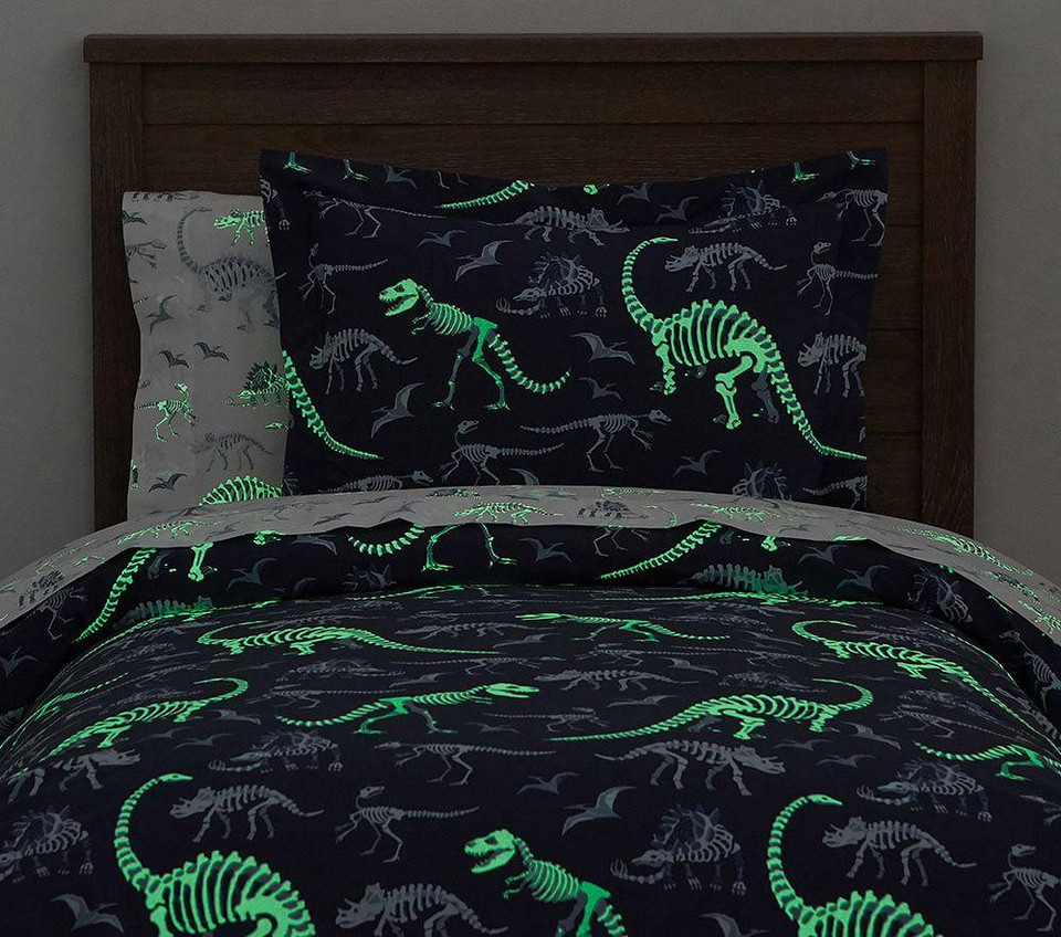 Organic Dino Bones Glow In The Dark Quilt Cover Pottery