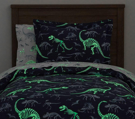 Organic Dino Bones Glow-in-the-Dark Quilt Cover