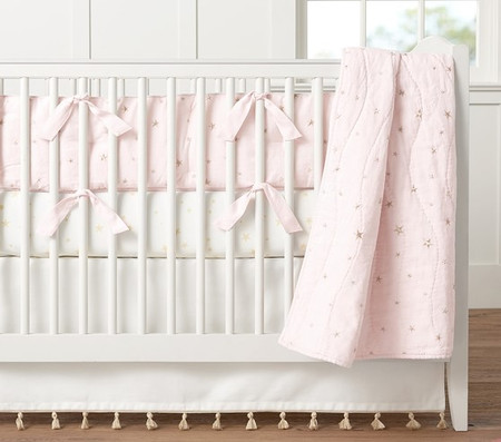 Organic Emily & Meritt Stars Nursery Bedding, Light Pink