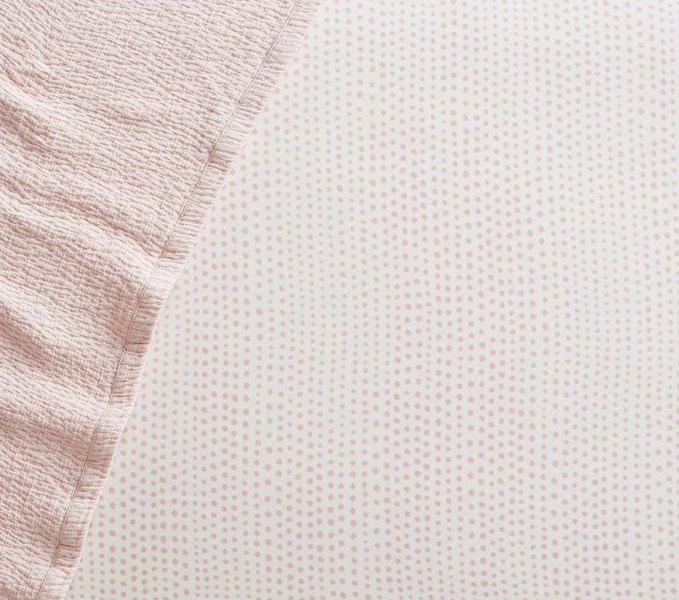 Organic Blush Falling Dot Cot Fitted Sheet