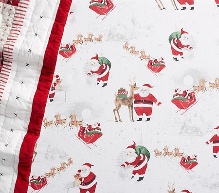 Organic Flannel Heritage Santa Cot Fitted Sheet