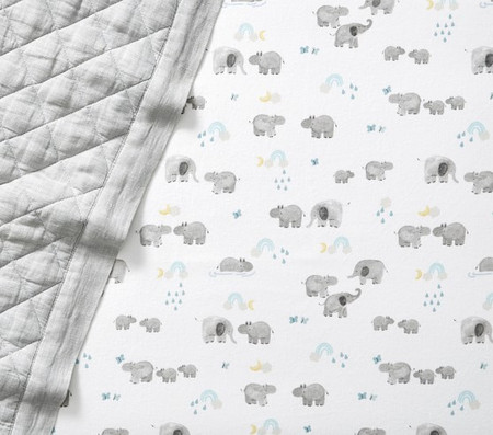 Organic Flannelette Hippo Cot Fitted Sheet