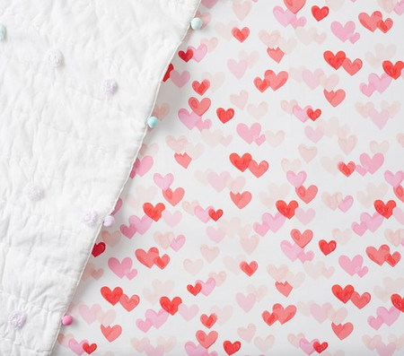 Organic Hearts Fitted Cot Sheet