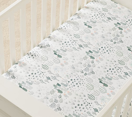Organic Lennon Cactus Fitted Cot Sheet