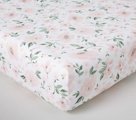 Organic Meredith Allover Floral Fitted Cot Sheet
